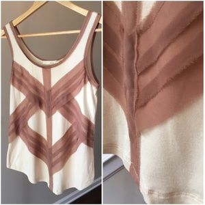 Lush Tank Top Cream with Mocha Accent Appliqué Sm